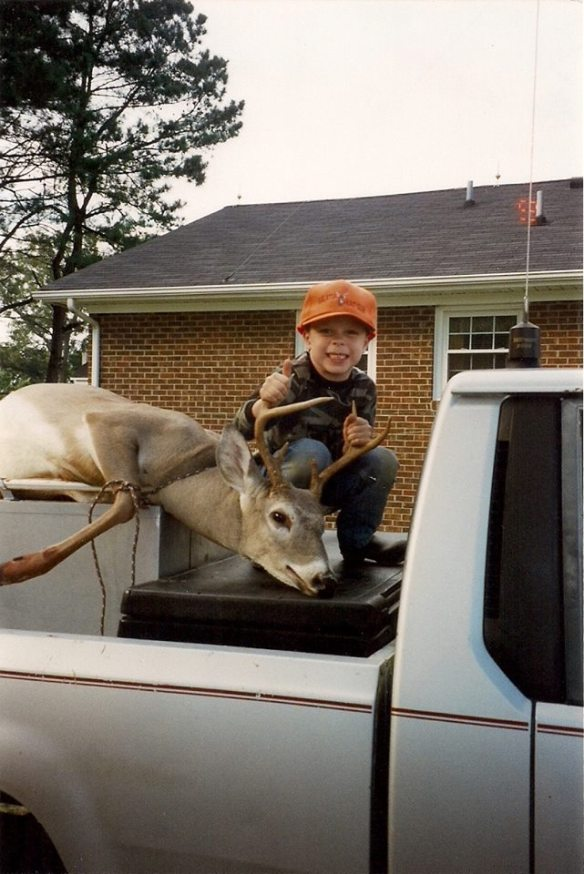 Hunting with the generations has been loved in our family for years. This little boy is now 18 and still hunting with his dad and grandfather.